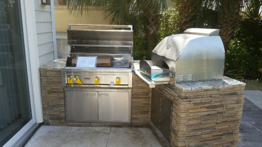 Casey Key Outdoor Kitchen with Lynx Grill, Lynx Pizza Oven