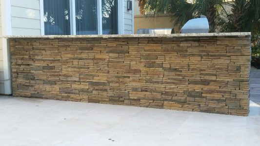 Custom Stonework for Outdoor Kitchen Island in Casey Key