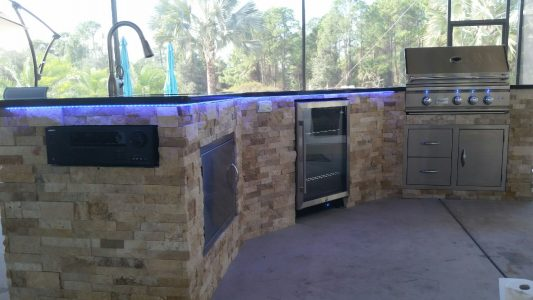 Custom Outdoor Kitchen in North Port with LED Underlights