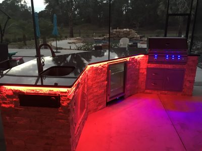 North Port Custom Outdoor Kitchen with LED Lighting