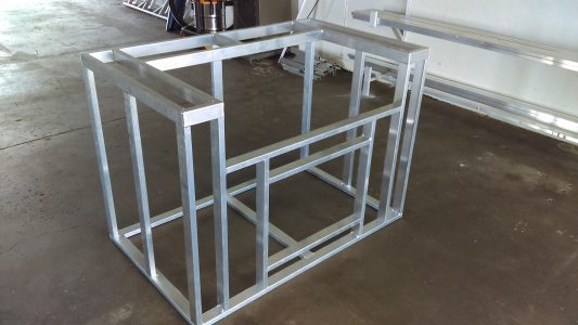 Custom-welded outdoor kitchen frame