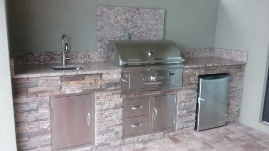 Outdoor refrigerator, sink and access doors/drawers