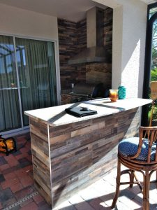 Bar area with wood-look tile