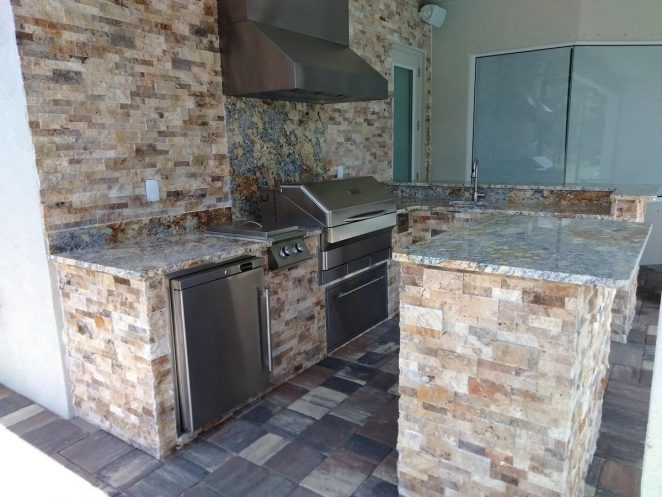 Travertine stone and granite countertops