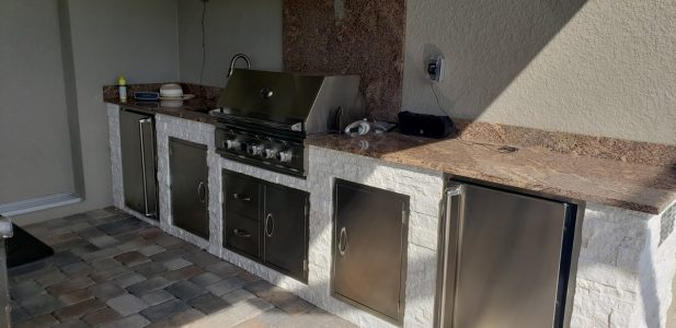 finished outdoor kitchen - three-quarters view