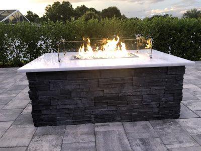 fire blazing in a custom fire table
