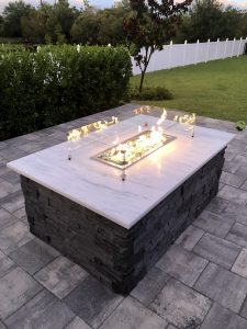 custom fire table with quartzite and Coronado stone